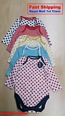 BNWT NEXT GIRLS' WHITE NAVY SPOTS BODY SUITS Upto 3 MONTHS