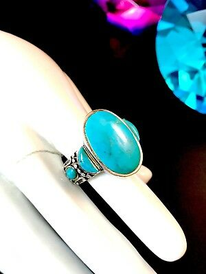 Striking Signed Nk 925 Sterling Silver Oval Turquoise Stone Ring Size 6