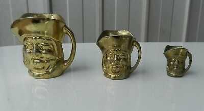 Gilt Brass Toby Jug Vintage Miniature x 3 Sizes Collectable Made in England