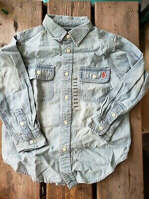 NWOT Polo By Ralph Lauren Denim Button Up Long Sleeve Dress Shirt Boys Size 4/4T