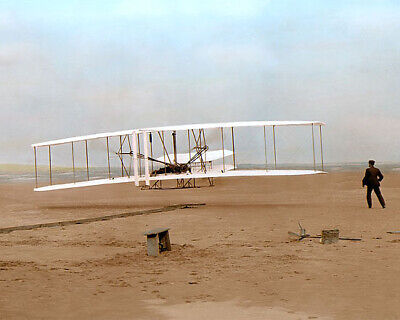 """WRIGHT BROTHERS ORVILLE WILBUR WRIGHT FLYER 1903 11x14"""" HAND COLOR TINTED PHOTO"""