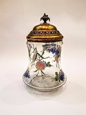 Antique French Art Nouveau Enameled Glass Cookie Biscuit Jar