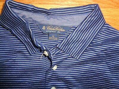 aceb0683 BROOKS BROTHERS GOLF Polo Shirt Striped Blue Flying Pig Logo S/S Men's XL