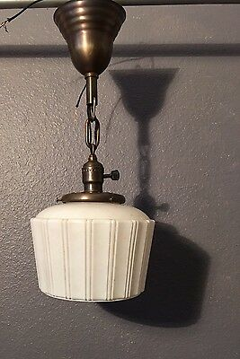 """18.5"""" Brass Wired Pendant Light Fixture Antique Globe Wired!! 26E"""