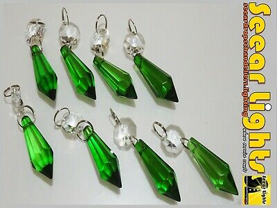Green Glass Chandelier Crystals Drops 8 Torpedo Beads Droplets Light Retro Parts