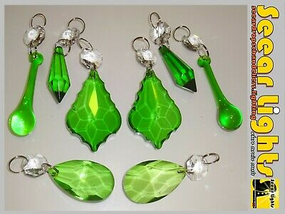 Green Glass Crystals Drops Chandelier 8 Beads Droplets Light Retro Parts Wedding