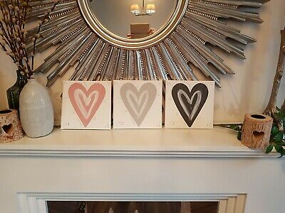 Bedroom wall art grey blush dusky pink silver love Heart picture canvas hall