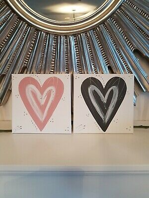 Blush pink grey silver love Heart wall art picture canvas bedroom hall kitchen.