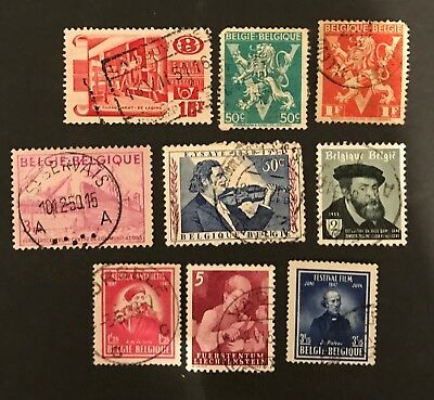 Belgium postage stamps Lot of 9 old              No