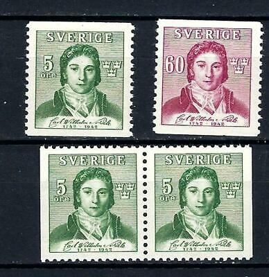 Sweden Scott 335-337 MNH With Pair    Scott $ 19 / Facit $23