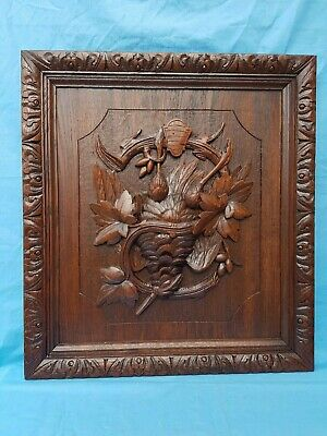 Antique French: panel, black forest, carved oak hunting trophy, woodcock, 19th