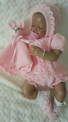 """❤ Hand knitted baby cardigan/angel top set 0-3 months / reborn doll 19"""" - 22"""""""