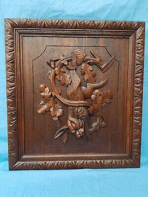 Antique French: panel, black forest, carved oak hunting trophy, rabbit, 19th