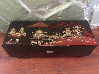 Large Vintage Japanese Mid-Century Lacquered Wood Shell Inlay Jewelry Music Box
