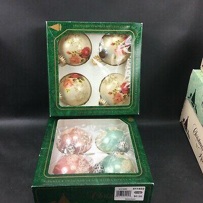 Vintage Christmas by Krebs Hand Decorated Glass Ornaments Lot of 8