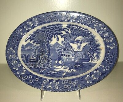 Antique Blue And White Platter Farm Scene With Floral Border