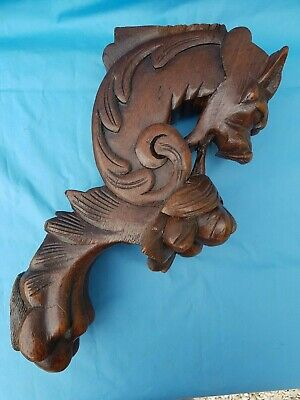 Antique French:  Oak Corbels , Carved chimeras, Work 19 th Black Forest