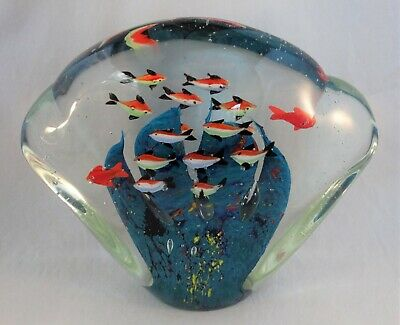 Large Murano Art Glass Aquarium Fish Sculpture Paperweight Signed
