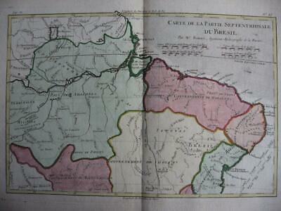 1780 - BONNE - Map  NORTHERN BRAZIL  AMAZONE RIVER  SALVADOR  Brasil