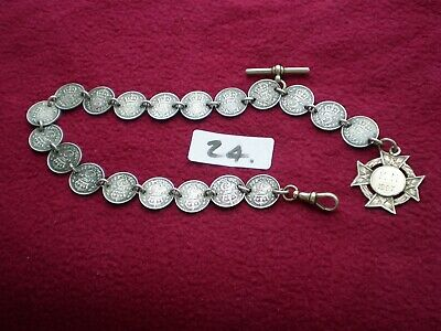 Rare Antique Victorian Silver 3ds Albert Watch Chain + Fob. 39grams.NO RESERVE.