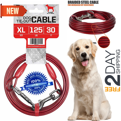30ft Heavy Duty Extra-Large Dog Pet Tie Out Cable Long Leashes Run Steel Strong
