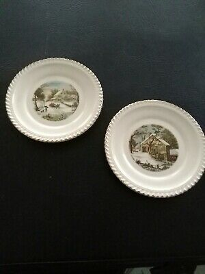 2 Harkerware Currier & Ives Decorative Plates