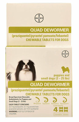 Bayer Expert Care Quad Dewormer Broad Spectrum Chewables Small Dog 2-25lbs