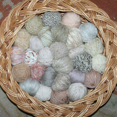 423g Job Lot Mixed Wool/Yarn 31 Balls/texture Neutral Fawn Biscuit Honey Beige