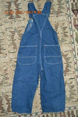 VINTAGE Boys RED BALL Sanforized Bib Overalls USA  Blue Denim RARE HTF