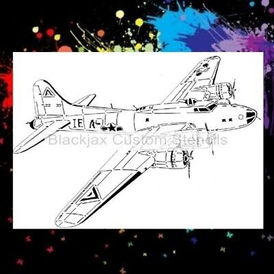 WWII B-17 Bomber Airplane Airbrush Stencil,Template