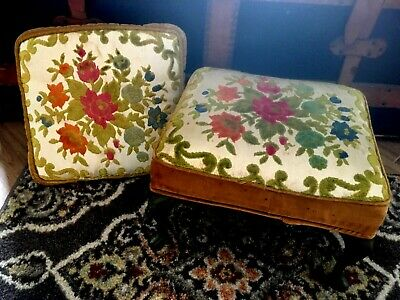 Vintage Upholstered Floral Print Metal Legged FOOT STOOL With Matching Pillow