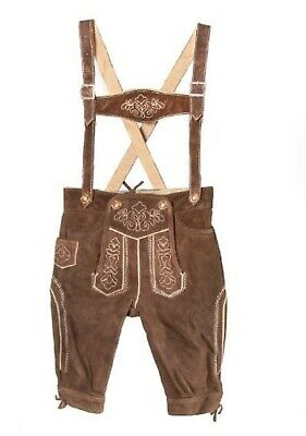Children German Traditional Leather Trousers Beige for Boys Size 92 98