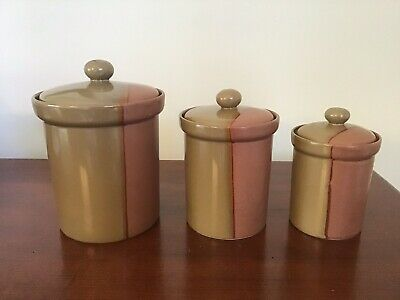 Sango China Gold Dust Sienna Canisters - 3 Piece Set