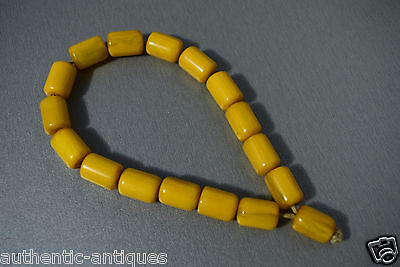 Vintage Turkish Islamic Bakelite Honey Yellow Catalin Amber Rosary Beads Damari