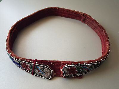 GORGEOUS ANTIQUE WOMAN FOLKLORE GLASS BEADED BELT from late 19th Century