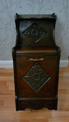Antique Carved Wood Purdonium/ Coal Scuttle / Bin / Side Table COLLECTION ONLY