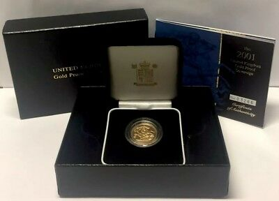 2001 Gold Proof Sovereign, Original Royal Mint Box & Certificate. 18th Birthday.