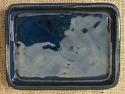 15 x 13cm Dark Blue Glazed Ceramic Drip Tray For Bonsai Pots