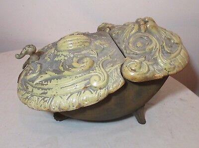 rare antique 1800's French enameled cast iron fireplace coal scuttle bin bucket.