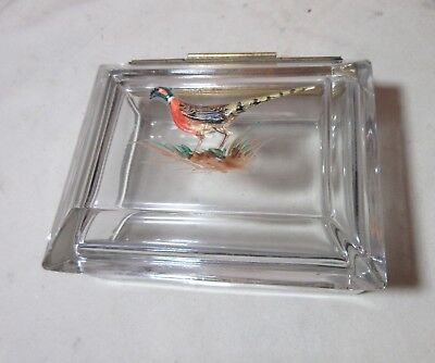 antique crystal glass gilt bronze enameled pheasant casket vanity jewelry box