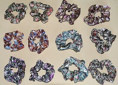 Wholesale Accessory 12 Flower Print Satin Hair Scrunchies Mixed Colours Or Same