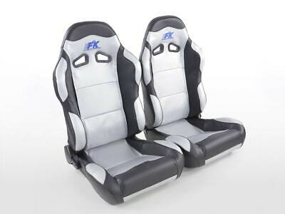 Pair Front Car Sports Seats Spacelook Carbon artificial leather silver black VW