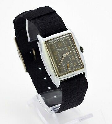 Vintage art deco ZENTRA 380 Swiss stainless steel watch tank case. Black dial
