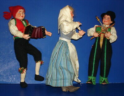 Hilda Ege Three Musician Dolls Includes Wood Accordion & Fiddle Norway 1950s-on