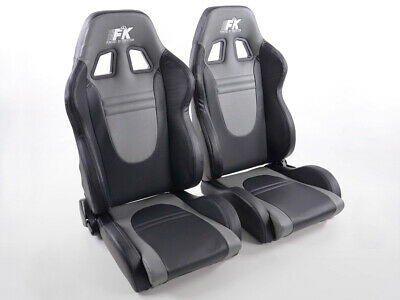 Pair Front Car Sports Seats Racecar faux leather black and grey VW Audi Seat