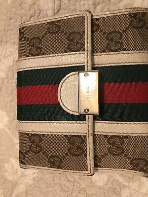 48f8ef95ca4a GUCCI IVORY Leather Wallet GG Monogram with Green/Red Stripe ...