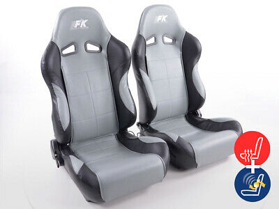 Pair Front Car Sports Seats Comfort artificial leather grey black VW Audi Seat