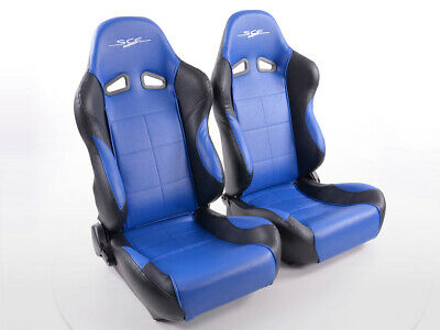 Pair Front Car Sports Seats SCE Sportive 1 artificial leather blue black VW Audi