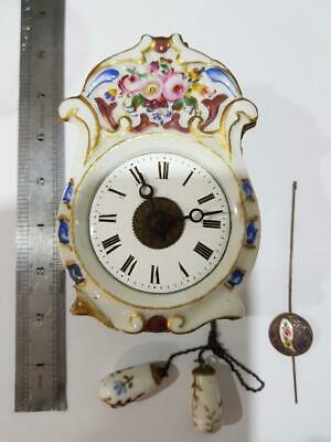 Very Very Rare Antique Miniature Black Forest Weight Driven Alarm Wall Clock