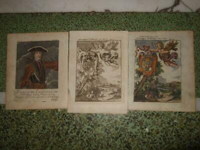 1719,3 Engr.savoy-Prince Eugen+Coats Of Arms,italy,italia,france,turin,chambery
